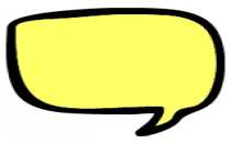 Yellow Black Outline Speech Bubble