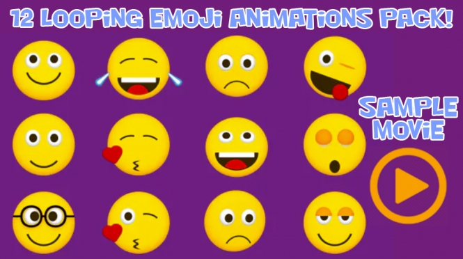 Animated Emojis Pack With Alpha Channel