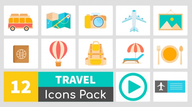 Animated Travel Icons Pack With Alpha Channel